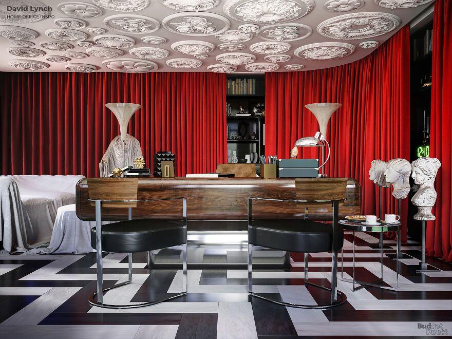 Μεγάλο ξύλινο γραφείο με κόκκινο φόντο