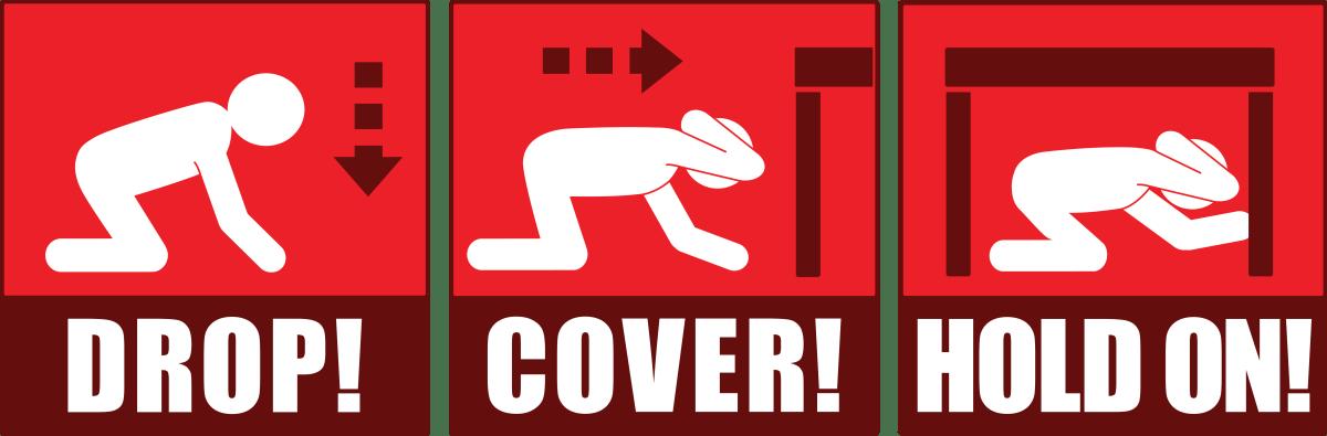 Κολάζ με εικόνες που δείχνουν τι να κάνεις σε περίπτωση σεισμού