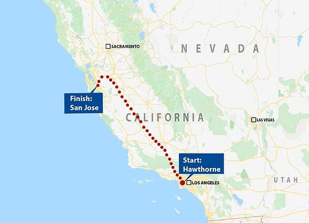Χάρτης με τη διαδρομή από το Λος Άντζελες μέχρι το Σαν Φρανσίσκο