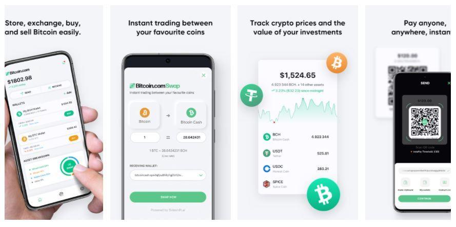 Κολάζ με φωτογραφίες από bitcoin wallets