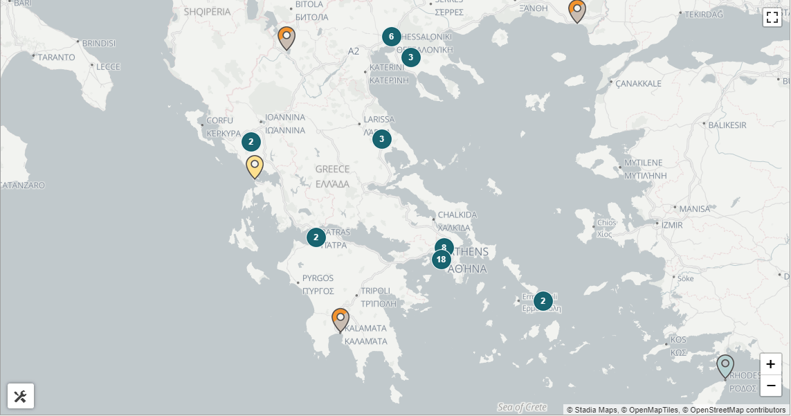 Χάρτης με τα Bitcoin ATM's στην Ελλάδα κα στην Κύπρο